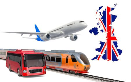 Passenger transportation in the United Kingdom by buses, trains and airplanes, concept. 3D rendering isolated on white background Banco de Imagens
