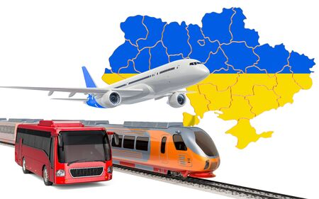 Passenger transportation in Ukraine by buses, trains and airplanes, concept. 3D rendering isolated on white background