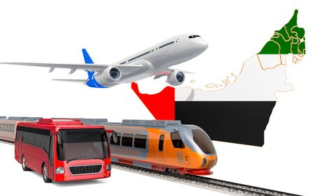 Passenger transportation in United Arab Emirates by buses, trains and airplanes, concept. 3D rendering isolated on white background Banco de Imagens
