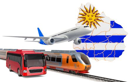 Passenger transportation in Uruguay by buses, trains and airplanes, concept. 3D rendering isolated on white background Imagens