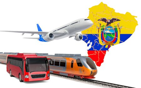 Passenger transportation in Venezuela by buses, trains and airplanes, concept. 3D rendering isolated on white background