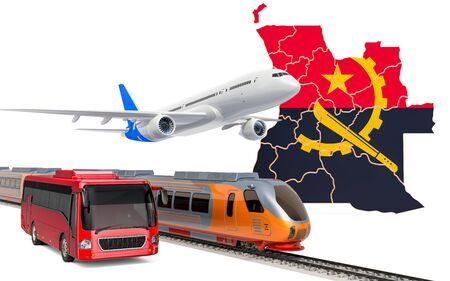 Passenger transportation in Angola by buses, trains and airplanes, concept. 3D rendering isolated on white background Banco de Imagens
