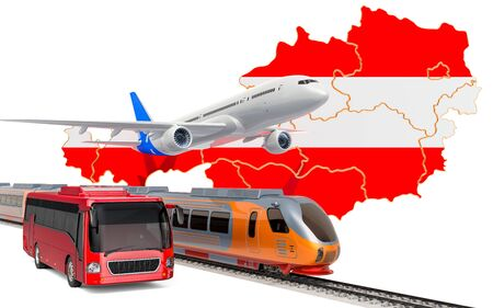 Passenger transportation in Austria by buses, trains and airplanes, concept. 3D rendering isolated on white background