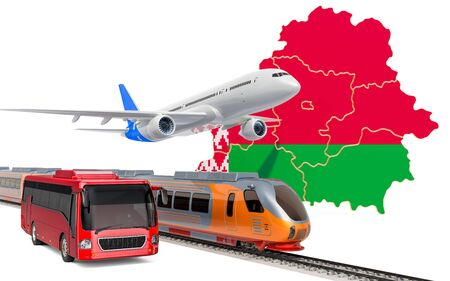 Passenger transportation in Belarus by buses, trains and airplanes, concept. 3D rendering isolated on white background