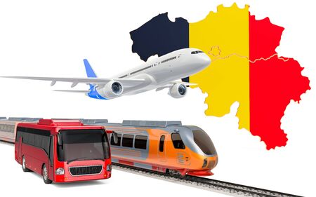 Passenger transportation in Belgium by buses, trains and airplanes, concept. 3D rendering isolated on white background