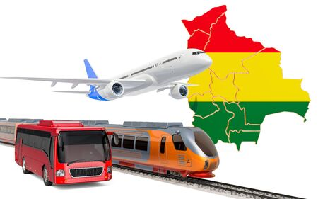 Passenger transportation in Bolivia by buses, trains and airplanes, concept. 3D rendering isolated on white background