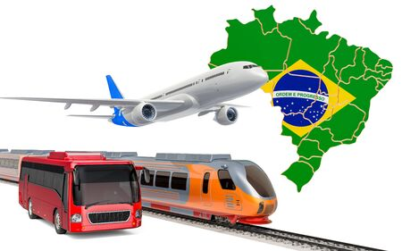 Passenger transportation in Brazil by buses, trains and airplanes, concept. 3D rendering isolated on white background Banco de Imagens