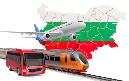Passenger transportation in Bulgaria by buses, trains and airplanes, concept. 3D rendering isolated on white background