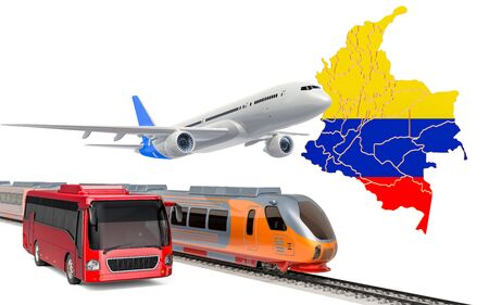 Passenger transportation in Columbia by buses, trains and airplanes, concept. 3D rendering isolated on white background Banco de Imagens