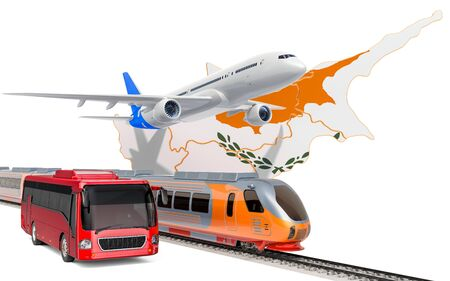 Passenger transportation in Cyprus by buses, trains and airplanes, concept. 3D rendering isolated on white background