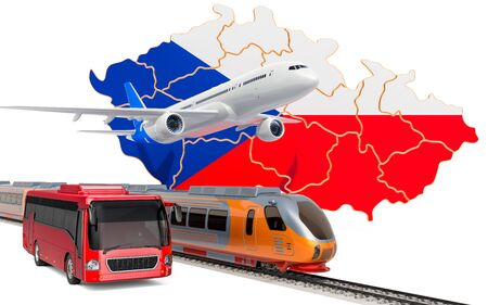 Passenger transportation in Czech Republic by buses, trains and airplanes, concept. 3D rendering isolated on white background