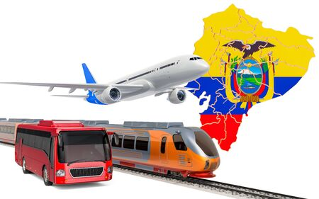 Passenger transportation in Ecuador by buses, trains and airplanes, concept. 3D rendering isolated on white background