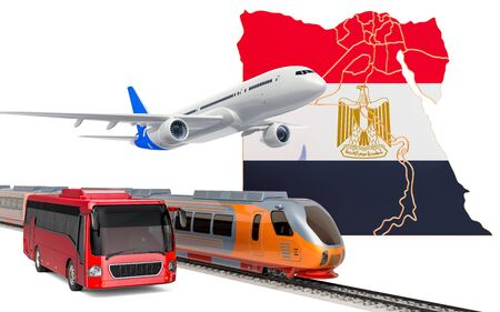 Passenger transportation in Egypt by buses, trains and airplanes, concept. 3D rendering isolated on white background