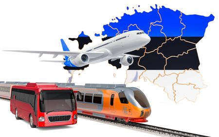 Passenger transportation in Estonia by buses, trains and airplanes, concept. 3D rendering isolated on white background