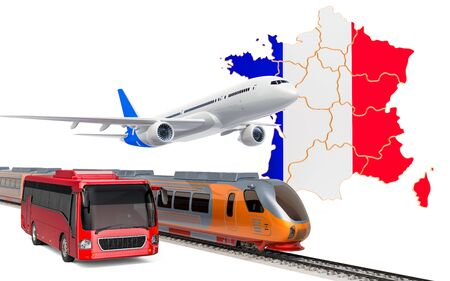 Passenger transportation in France by buses, trains and airplanes, concept. 3D rendering isolated on white background