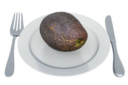 Fresh avocado on plate with fork and knife, 3D rendering isolated on white background
