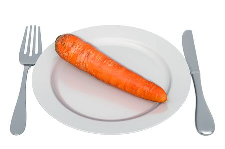 Fresh carrot on plate with fork and knife, 3D rendering isolated on white background