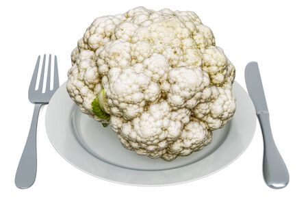 Fresh cauliflower on plate with fork and knife, 3D rendering isolated on white background  Reklamní fotografie