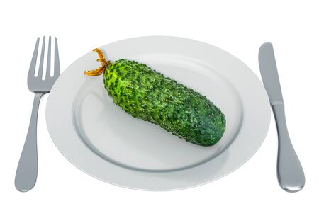 Fresh cucumber on plate with fork and knife, 3D rendering isolated on white background