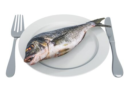Fresh Gilt-head bream on plate with fork and knife, 3D rendering  isolated on white background