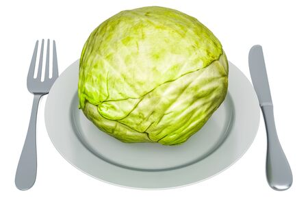 Fresh headed cabbage on plate with fork and knife, 3D rendering isolated on white background