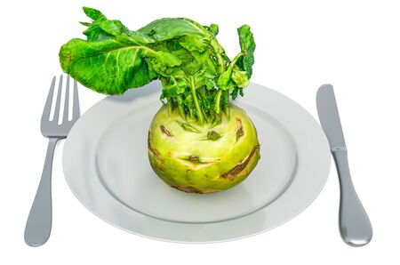 Fresh kohlrabi on plate with fork and knife, 3D rendering isolated on white background