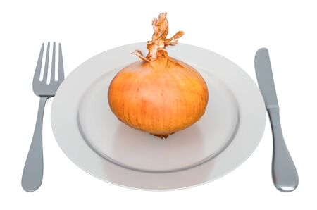 Fresh onion on plate with fork and knife, 3D rendering isolated on white background Stock Photo