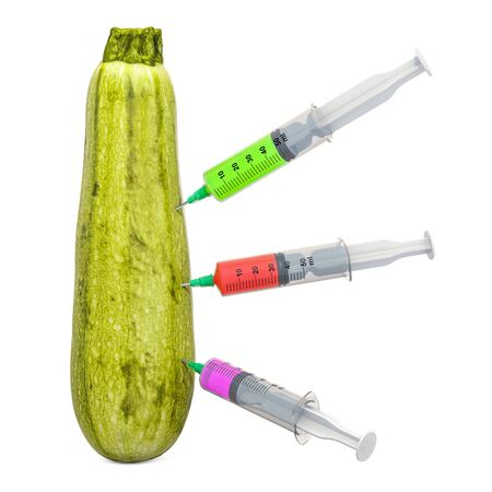 Courgette or zucchini with a syringes full of chemicals. Genetic Food Modification, concept. 3D rendering isolated on white background