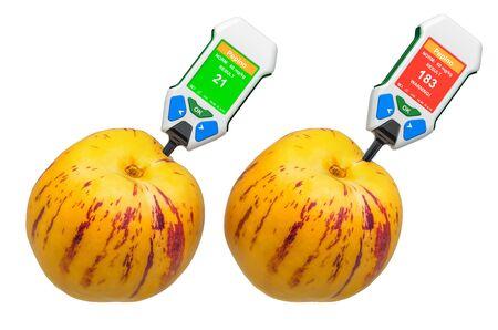 Probadores de nitratos con pepinos. Medición de niveles de nitrato en pepinos dulces, rango normal y superior a la norma. Representación 3D aislada en el fondo blanco