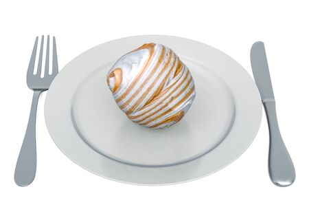 Zephyr, marshmallow on plate with fork and knife, 3D rendering isolated on white background