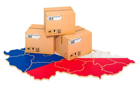 Parcels on the Czech Republic map. Shipping in Czech Republic, concept. 3D rendering isolated on white background Stockfoto