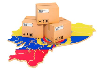 Parcels on the Ecuadorian map. Shipping in Ecuador, concept. 3D rendering isolated on white background Archivio Fotografico
