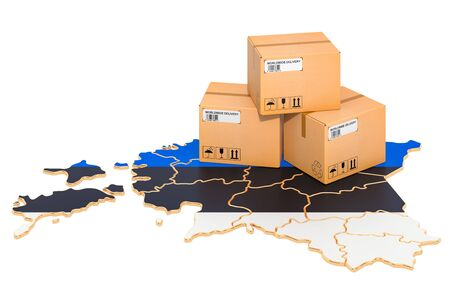 Parcels on the Estonian map. Shipping in Estonia, concept. 3D rendering isolated on white background