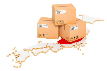 Parcels on the Japanese map. Shipping in Japan, concept. 3D rendering isolated on white background Stock Photo