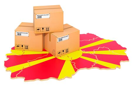 Parcels on the Macedonian map. Shipping in Macedonia, concept. 3D rendering isolated on white background Stockfoto