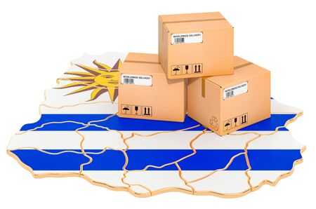 Parcels on the Uruguayan map. Shipping in Uruguay, concept. 3D rendering isolated on white background