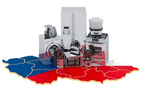 Kitchen and household appliance on the map of Czech Republic. Production, shopping and delivery concept. 3D rendering isolated on white background