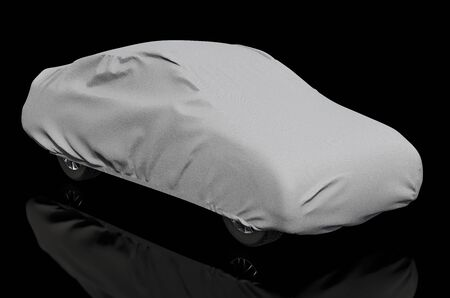 Car cover on the auto, 3D rendering isolated on black background