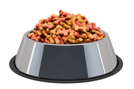 Dog dry food in bowl, 3D rendering isolated on white background