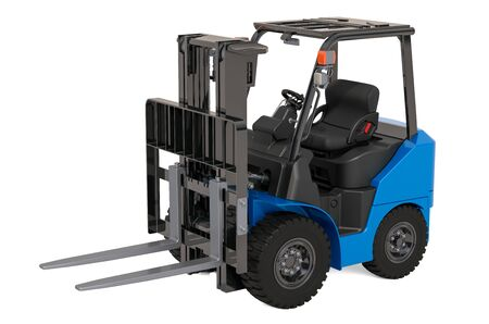 Hydrogen Fuel Cell Forklift Truck, 3D rendering isolated on white background Archivio Fotografico