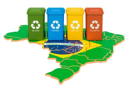 Waste recycling in Brazil. Colored trash cans on the map of Brazil, 3D rendering isolated on white background