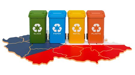 Waste recycling in Czech Republic. Colored trash cans on the map of Czech Republic, 3D rendering isolated on white background