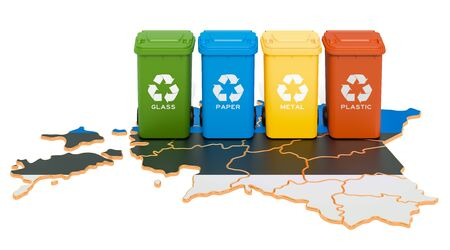 Waste recycling in Estonia. Colored trash cans on the map of Estonia, 3D rendering isolated on white background