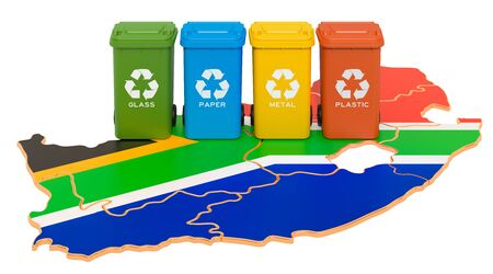 Waste recycling in South Africa. Colored trash cans on the map of South Africa, 3D rendering isolated on white background Stok Fotoğraf - 133465230