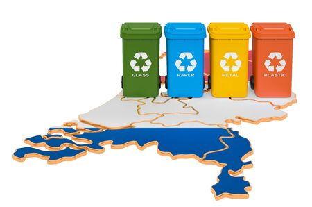 Waste recycling in the  Netherlands. Colored trash cans on the map of Holland, 3D rendering isolated on white background