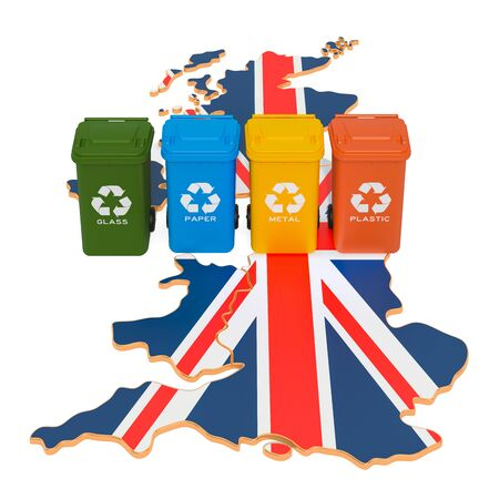 Waste recycling in the United Kingdom. Colored trash cans on the map of the Great Britain, 3D rendering isolated on white background