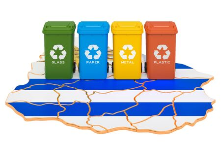 Waste recycling in Uruguay. Colored trash cans on the map of Uruguay, 3D rendering isolated on white background Фото со стока