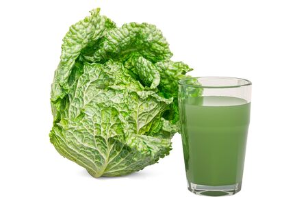 Glass of savoy cabbage juice with savoy cabbage, 3D rendering isolated on white background