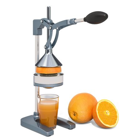Manual citrus juicer with glass of orange juice and oranges, 3D rendering isolated on white background