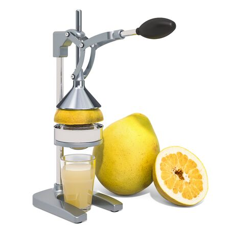 Manual citrus juicer with glass of pomelo juice and pomelo, 3D rendering isolated on white background